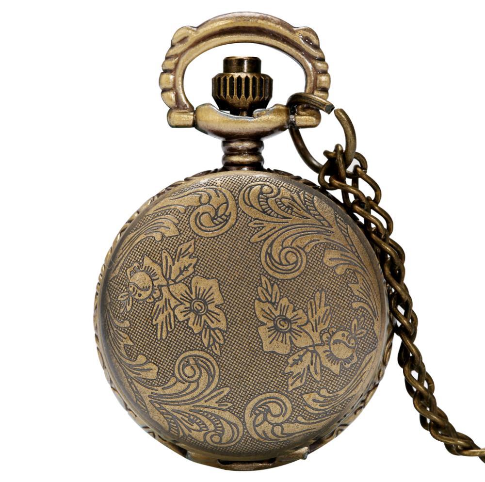 Simple Small Size Mini  Bronze Quartz Pocket Watch Floral Rattan Necklace Pendant Minimalist Sweater Chain Watches for Men Women