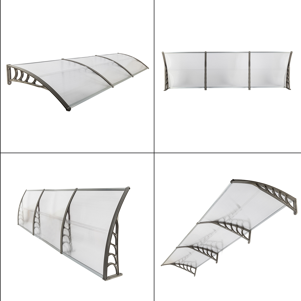 HT-300 X 100 Door Window Awning Rain Snow Eaves Cover Overhead Canopy Sun Shade Shelter For Outdoor Patio Garden - US Stock