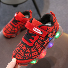 1-14 Years Old Luminous Sneakers Boy Girl Cartoon LED Light Up Shoes Glowing wit