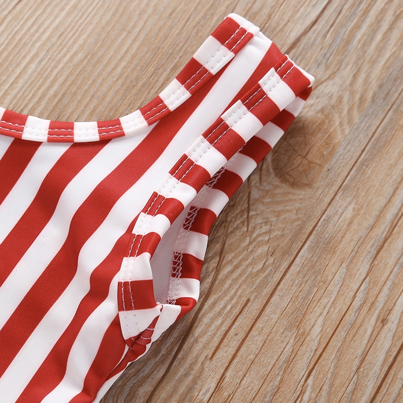 For Summer Medium-small Girls Red Stripes Backless One-piece Swimming Suit Mesh Skirt Set