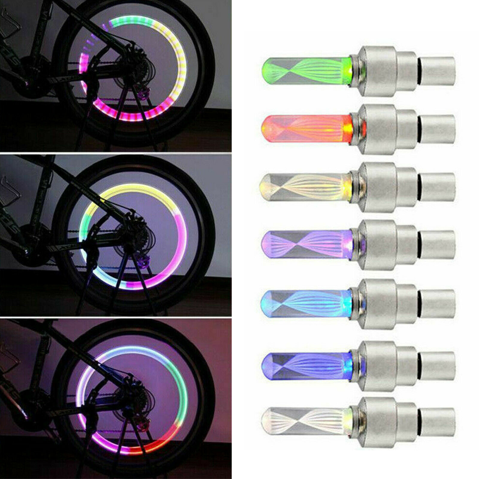 1Pcs 5 Colors RGB LED Bike Valve Cap Light Flash Tyre Tire Wheel Stem Rim Neon Lights Lamp For Bicycle Motorcycle Night Cycling