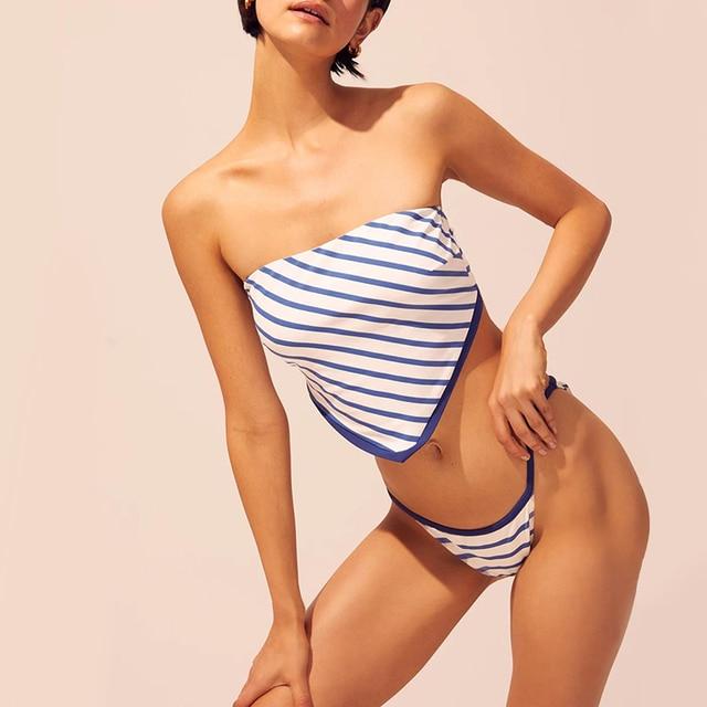 2020 girls bikinis set bikini swimsuit women swimwear wire free swimming low waist sale ruffles green print floral blue stripped 8