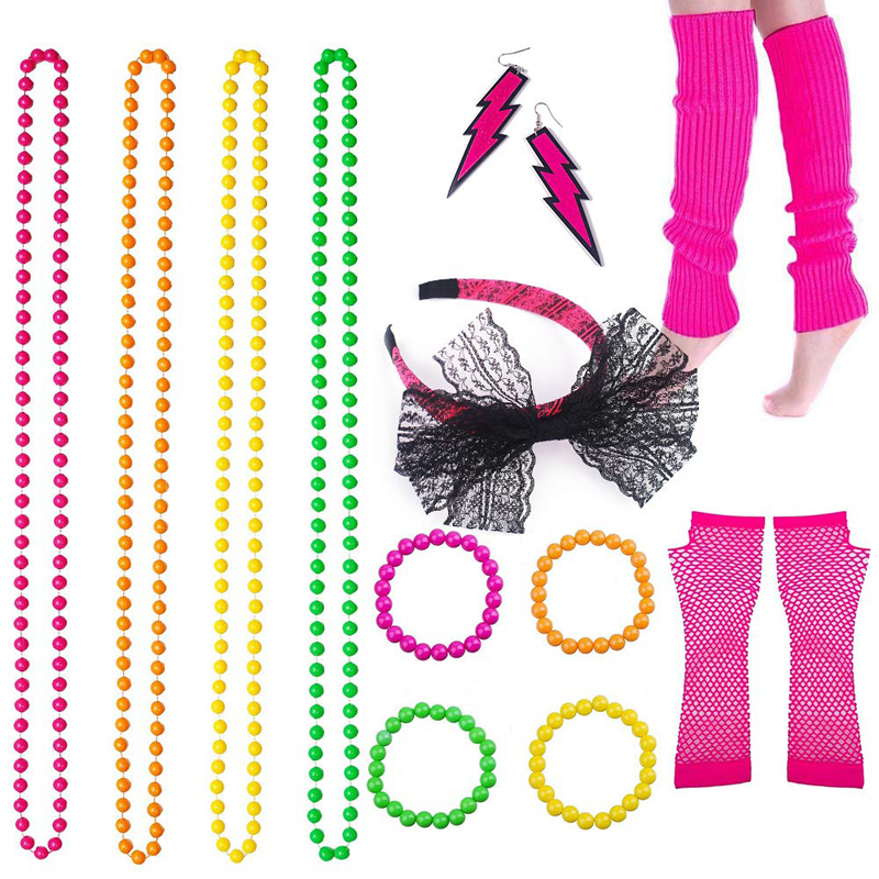 80s Costume Accessories Set Leg Warmers Headband Gloves Earrings Bracelet Beads