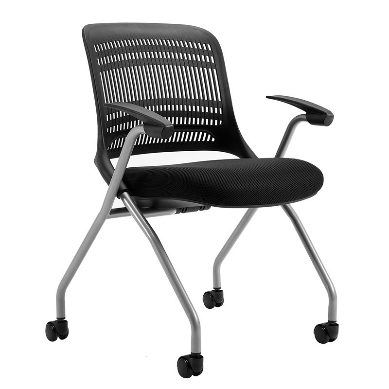 Office Meeting Chair Fold Train Chair Bring Casters Plastic Screen Cloth Computer Chair Reception Negotiate Chair