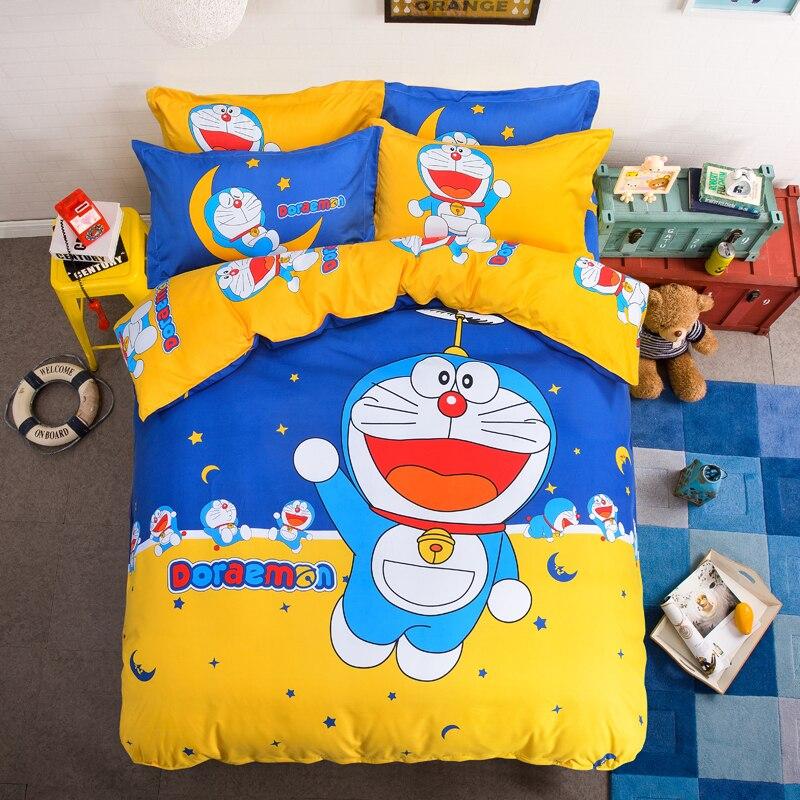 Домашний текстиль с изображением мультфильма Дораэмон, Комплект постельного белья, детский подарок, хлопковый пододеяльник, Комплект пост...