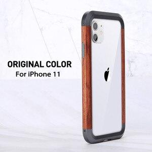 Image 5 - Für iPhone 11 Pro Max X XR XS MAX Metall Holz Fall 2 in 1 Hybrid Rahmen Rand Schutzhülle ultra Dünne Metall Holz Stoßstange Fall