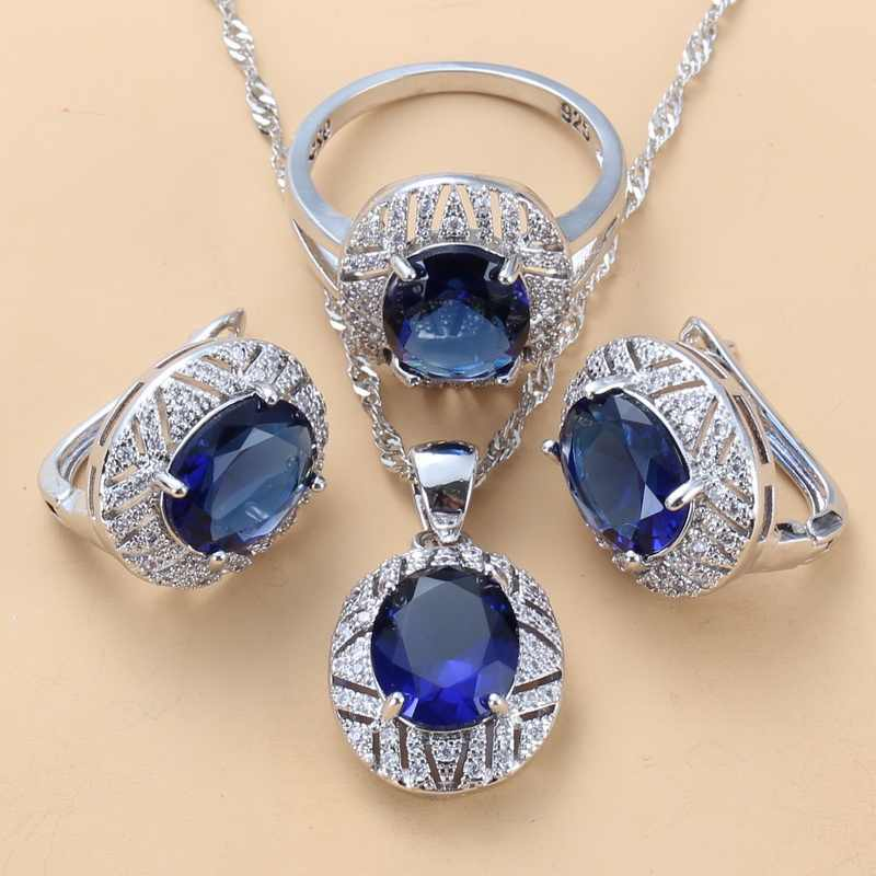 כלה תלבושות 925 כסף סטרלינג עם טבעי CZ כחול גדול תכשיטי סטים להתנדנד קליפ עגילי טבעת 6-צבע סטים לנשים מתנה