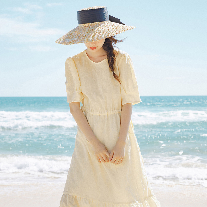 INMAN 2020 Summer New Arriavl Fresh Simple but Elegant Jacquard Weave Drawstring Nipped Waist Dress