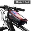 Wild man bolsa de bicicleta à prova de chuva, quadro frontal superior, refletor 6.5in, estojo para celular, touchscreen, acessórios para bicicleta mtb 9