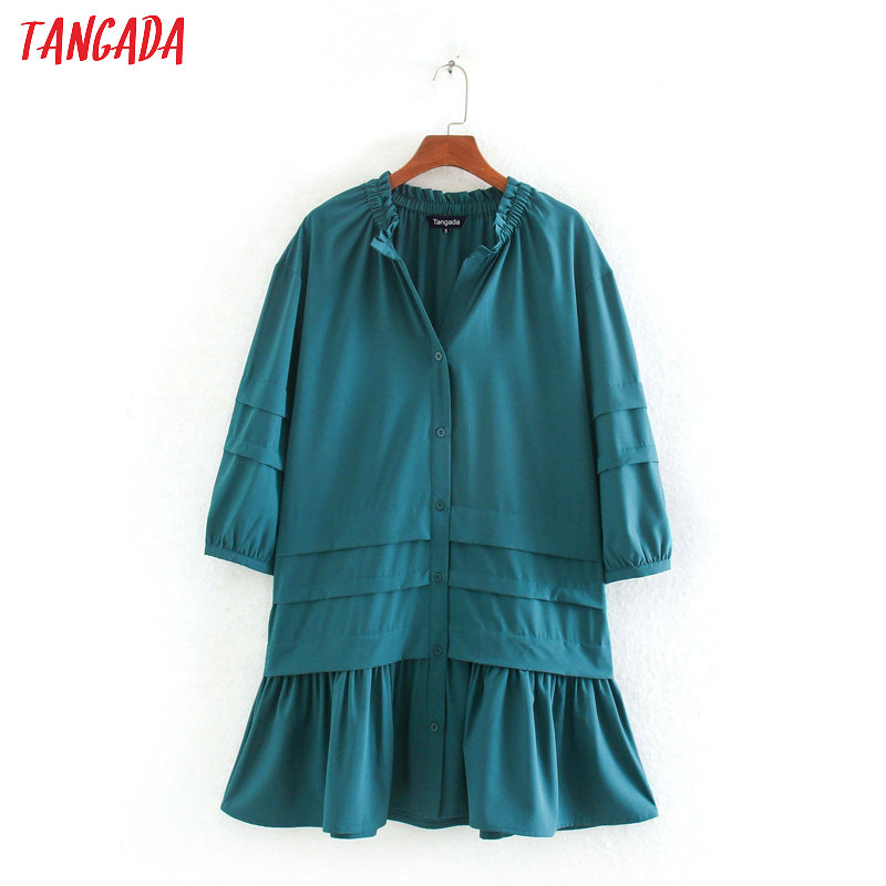 Tangada Fashion Women Solid Shirt Dress Three Quarter Sleeve Loose Ladies Casual Mini Dress Vestidos CE252