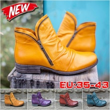 PU Leather Thick Heel Winter Boots Zipper Comforable Female Leather Snow Boots Fashion Large Size Women Winter Shoes Ankle
