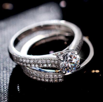 Luxury Female White Bridal Ring Set Fashion Silver Color Gold Wedding Band Jewelry Promise Love Round Engagement Rings For Women