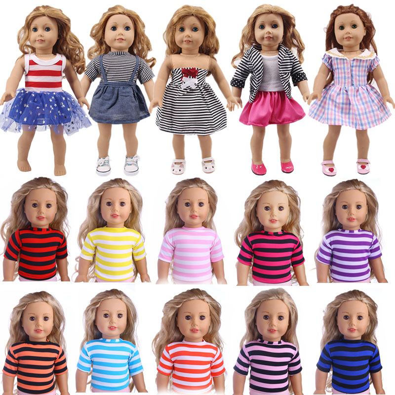 Doll Clothes Stripe Designs  Wedding Evening Dress Fit 18 Inch American Doll&43 Cm Baby Doll For Christmas Generation Girl`s Toy