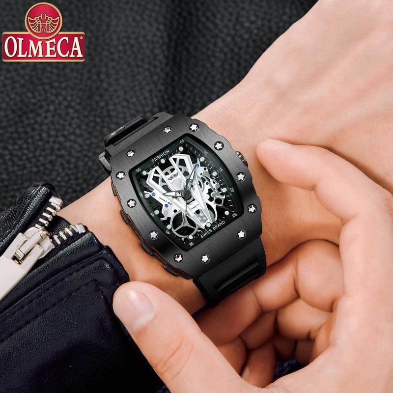 OLMECA Skeleton Sport Man Watch Mens Watches Top Brand Luxury Male Wristwatch Black Quartz Montre Homme Relojes Hombre Clock Men