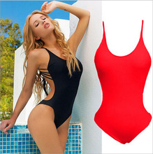 Solid V Shape One Piece Swimsuit Womens Swimwear Female V-bar Red Black Bather 2019 new Bathing Suit Lady Bodysuit sexy swimsuit