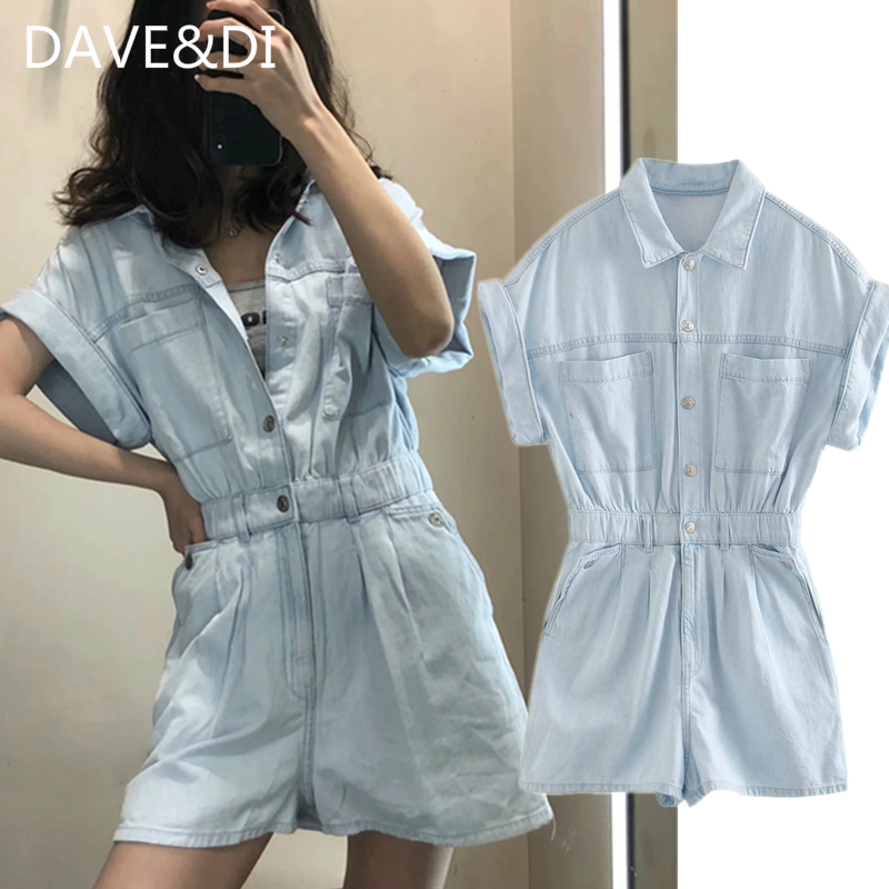 DAVE&DI Ins Fashion Blogger High Street Washed Loose Cargod Enim Playsuit Women Rompers Women Combinaison Femme Playsuits Women