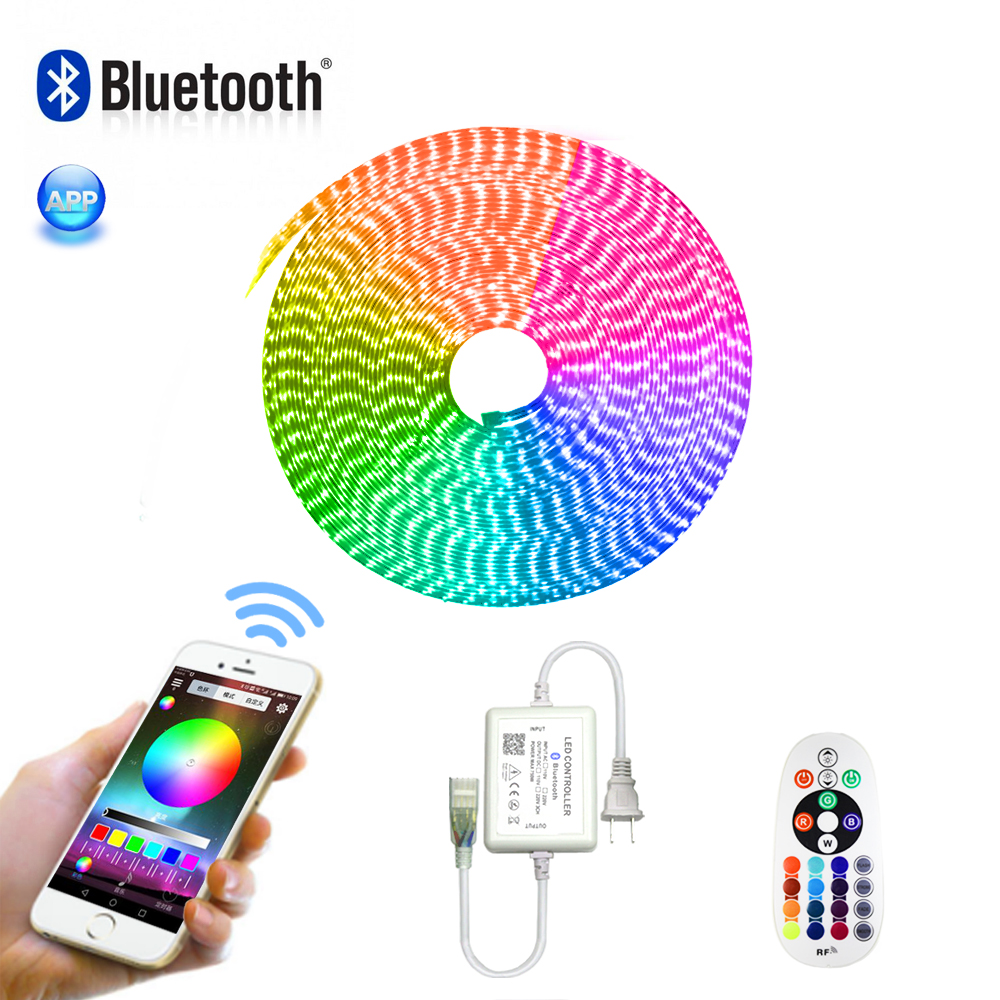 AC 110V LED Strip Light RGB SMD 5050 Tape Phone APP and Remote control Waterproof flexible neon lights Outdoor room decoration