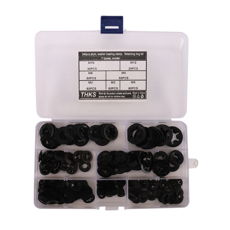 340Pcs Internal Tooth Starlock Washers Lock Washers Assortment Kit, Push On Speed Clips Fasteners Assortment Kit (7 Size)