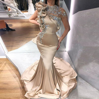 Arabic Evening Dresses High Neck Champagne Beaded with Rhinestones Mermaid Prom Cap Sleeves Dubai Party Gowns 2020 - discount item  38% OFF Special Occasion Dresses