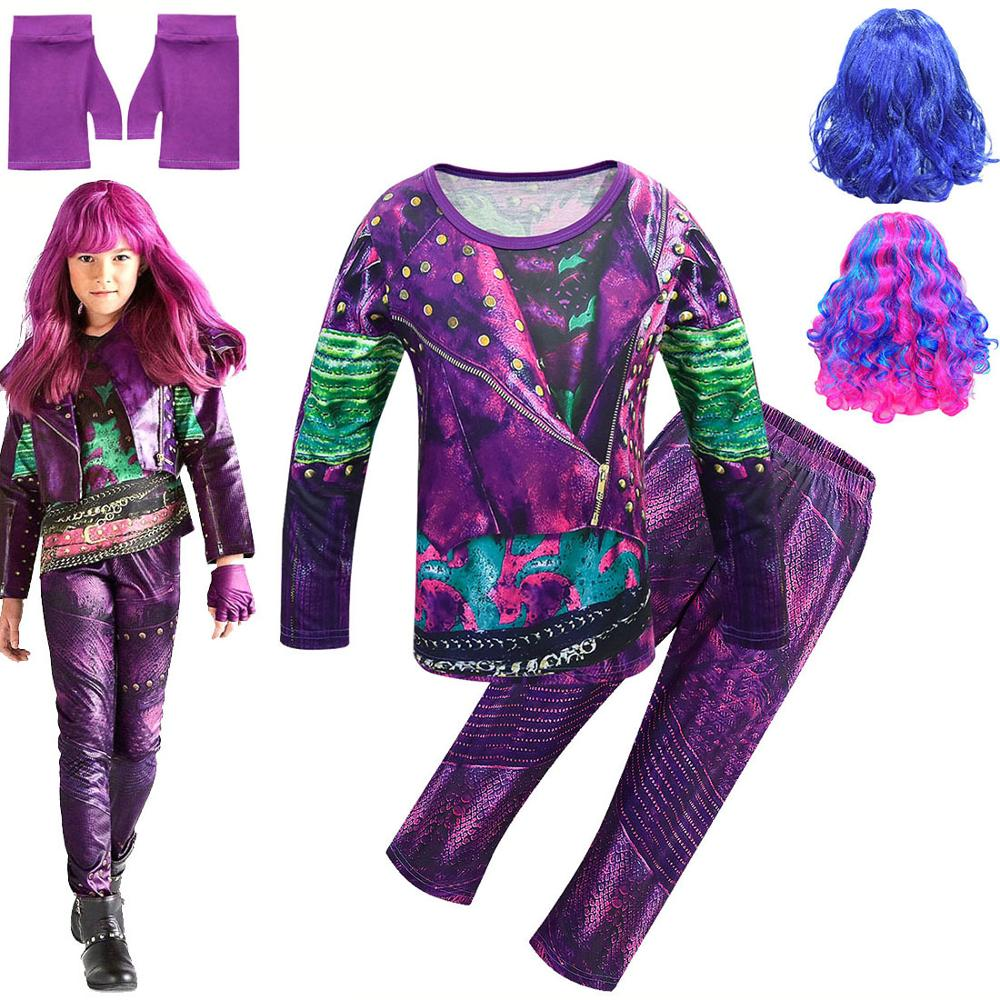 Descendants Mal Fancy Costumes Girls Mal Dress Up Shirt Pants Kids Evie Cosplay Outfits Halloween Role Playing Outfits With Wig