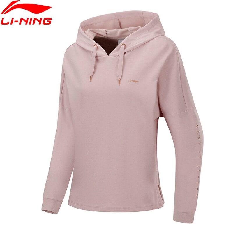 (Break Code)Li-Ning Women Training Sweater Loose Fit 52% Cotton 48% Polyester Li Ning LiNing Sports Hoodies AWDP358 WWW1037