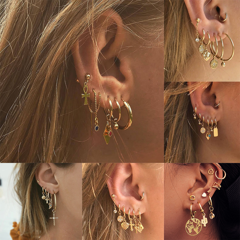 Bls-miracle 2019 New Boho Multi-Element Crystal Set Earring For Women Fashion Pendant Piercing Geometric Stud Earrings Jewelry