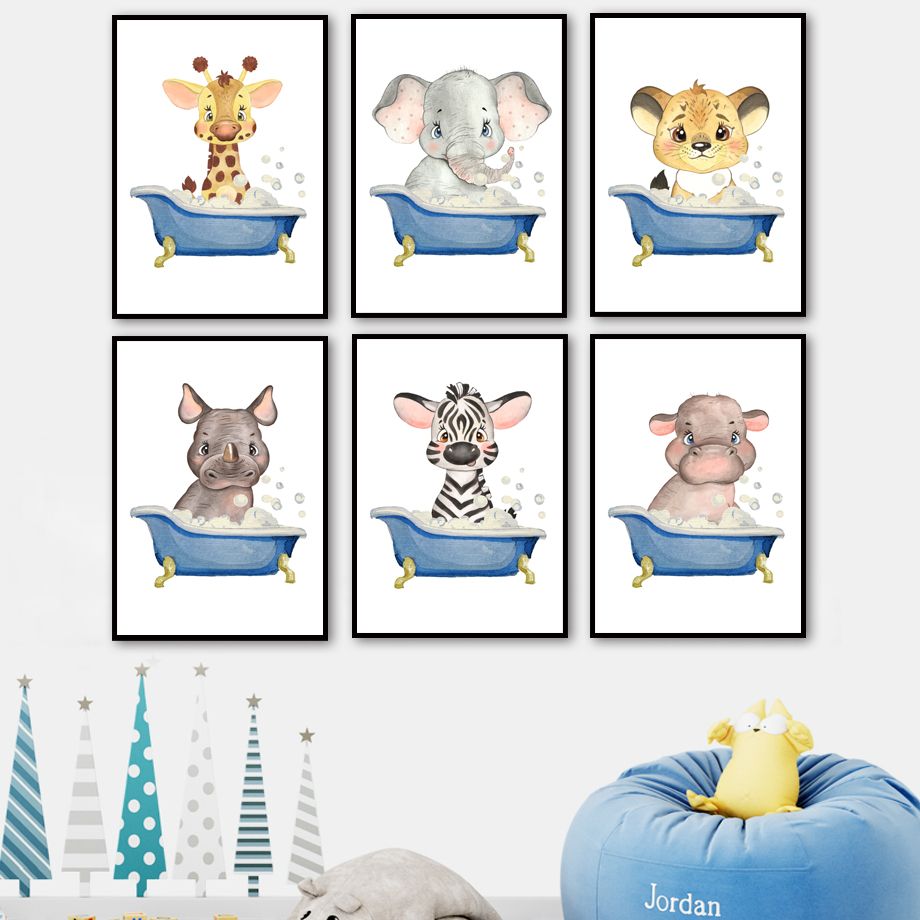 Lion elephant zebra tiger hippo Bath Nursery Wall Art Canvas Painting Posters And Prints Wall Pictures Kids room bathroom Decor