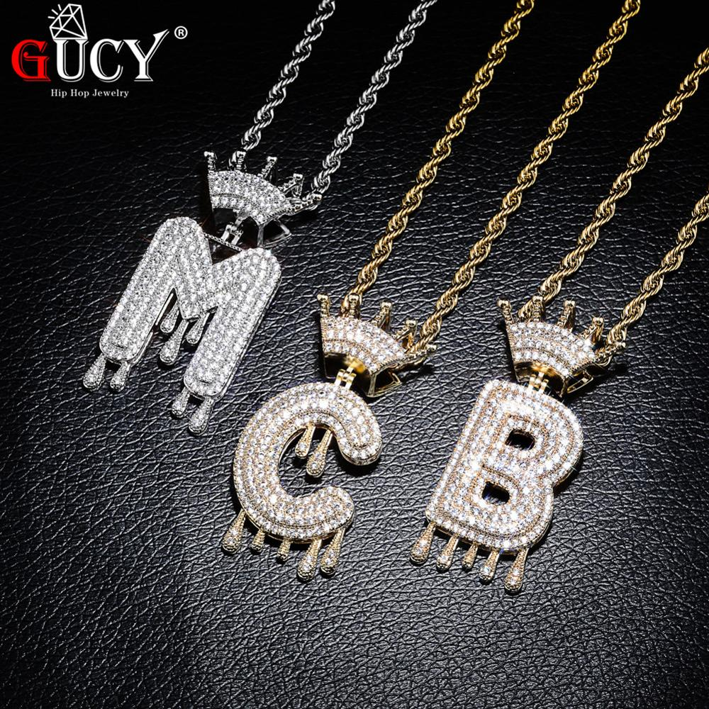 GUCY A-Z Crown Drip Letters Necklace & Pendant Chain For Men Women Gold Silver Color Cubic Zircon Hip Hop Jewelry(China)
