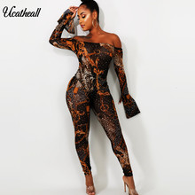 Mesh Print Women Jumpsuit Sexy Ladies Jumpsuits Party Off Shoulder Jumpsuit Women Long Sleeve Romper Skinny Jumpsuit(China)