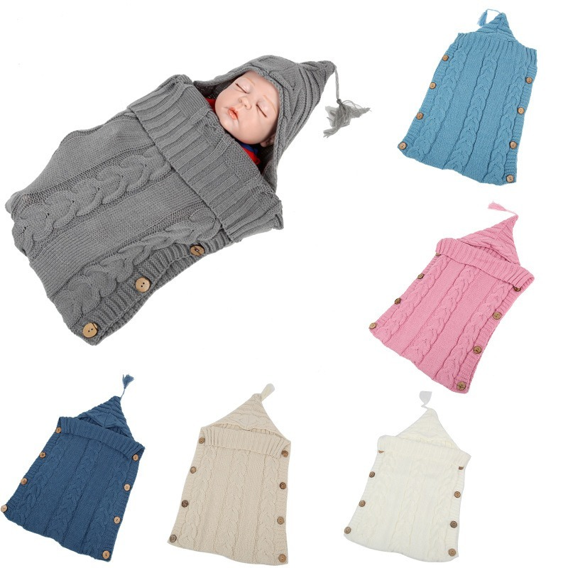 Newborn Baby Swaddling Stroller Wrap Winter Warm Sleeping Bags Infant Button Knit Swaddle Wrap Toddler Blanket Sleeping Bags