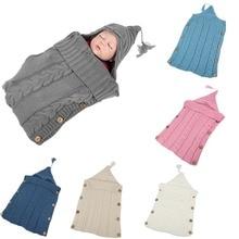 Toddler Blanket Wrap Swaddling Sleeping-Bags Button-Knit Newborn-Baby Winter Stroller