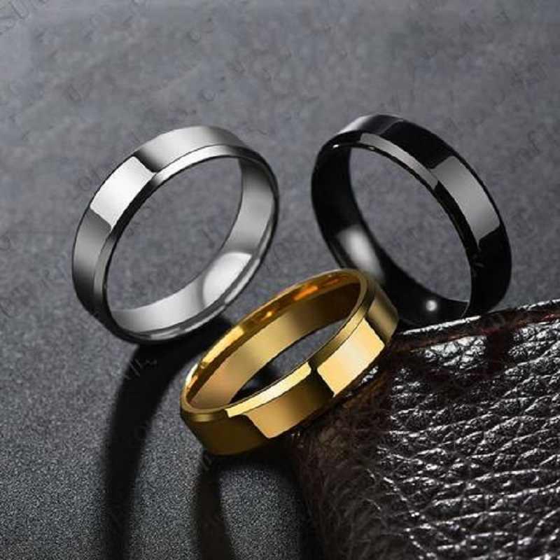 Mới Thép Titan Đen Ngón Tay Nhẫn Bộ Dành Cho Người Đàn Ông Mạ Bạc Nhẫn Nữ Vàng-Màu sắc Trang Sức Nữ Cưới nhẫn