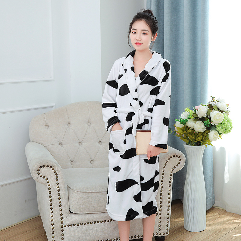 Women Robe Home Clothing Print Black And White Cow Nightwear Winter Warm Home Dressing Gown Solid Colour Kimono Bathrobe Gown
