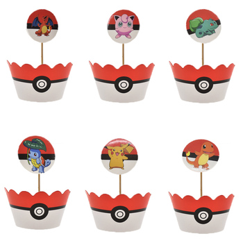 Boys Favors Birthday Party Baby Shower Pikachu Cake Toppers Paperboard Pokemon Go Theme Decorate Cupcake Wrappers 30pcs golden glitter unicorn horn theme cupcake toppers kid s party baby shower decors