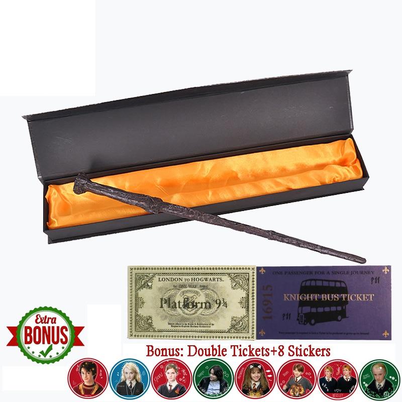 22 Kinds of Magic Wand with Box Voldmorte Ron Hermione Dumbledore Luna Magic Wand Knight Bus Train Ticket