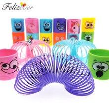 12 sztuk Mini Rainbow magiczne sprężyny zabawki szczęśliwa twarz jednorożec dzieci upominki na przyjęcie urodzinowe nagrody w klasie Goodie Bag wypełniacze pinaty