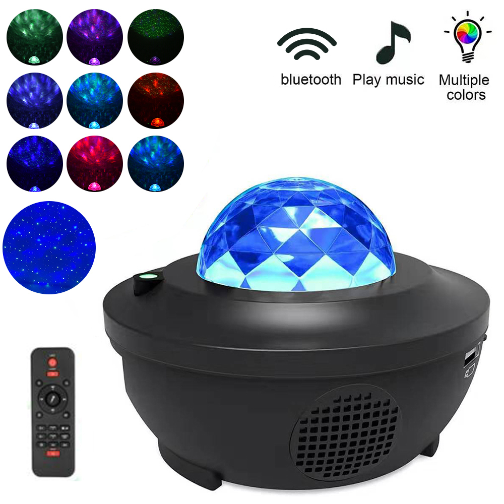 LED Star Projector Night Light 2 In 1 Starry Night Lamp Ocean Wave Projector With Music Bluetooth Speaker Remote Control For Kid