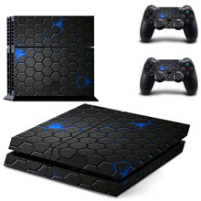 Honeycomb Texture Style Decal Skin Sticker for PS4 Playstation 4 Console Protection Film + 2Pcs Controllers Protective Cover(China)
