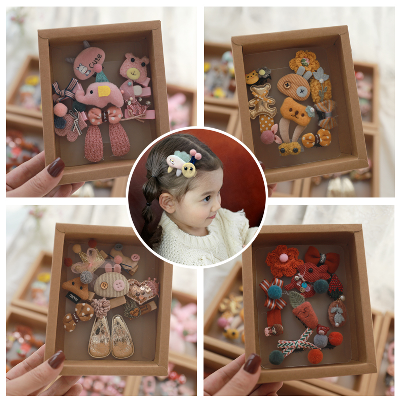 10pcs Headwear Gift Box Children Accessories Kakakid Bow Hair Clip Hairpins Girls Princess Headdress Crown Cute Animal Hair Grip