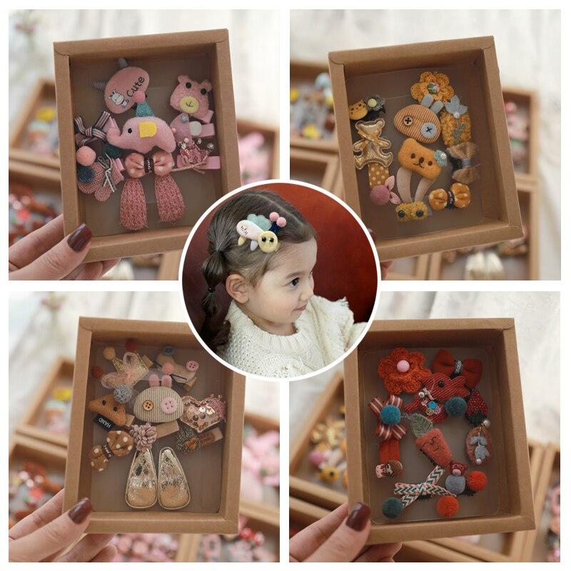 10pcs Headwear Gift Box Children Accessories Kakakid Bow Hair Clip Hairpins Girls Princess Headdress Crown Cute Animal Hair Grip