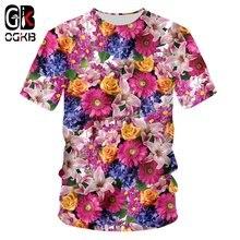 Женская/мужская футболка с коротким рукавом ogkb цветочным 3d