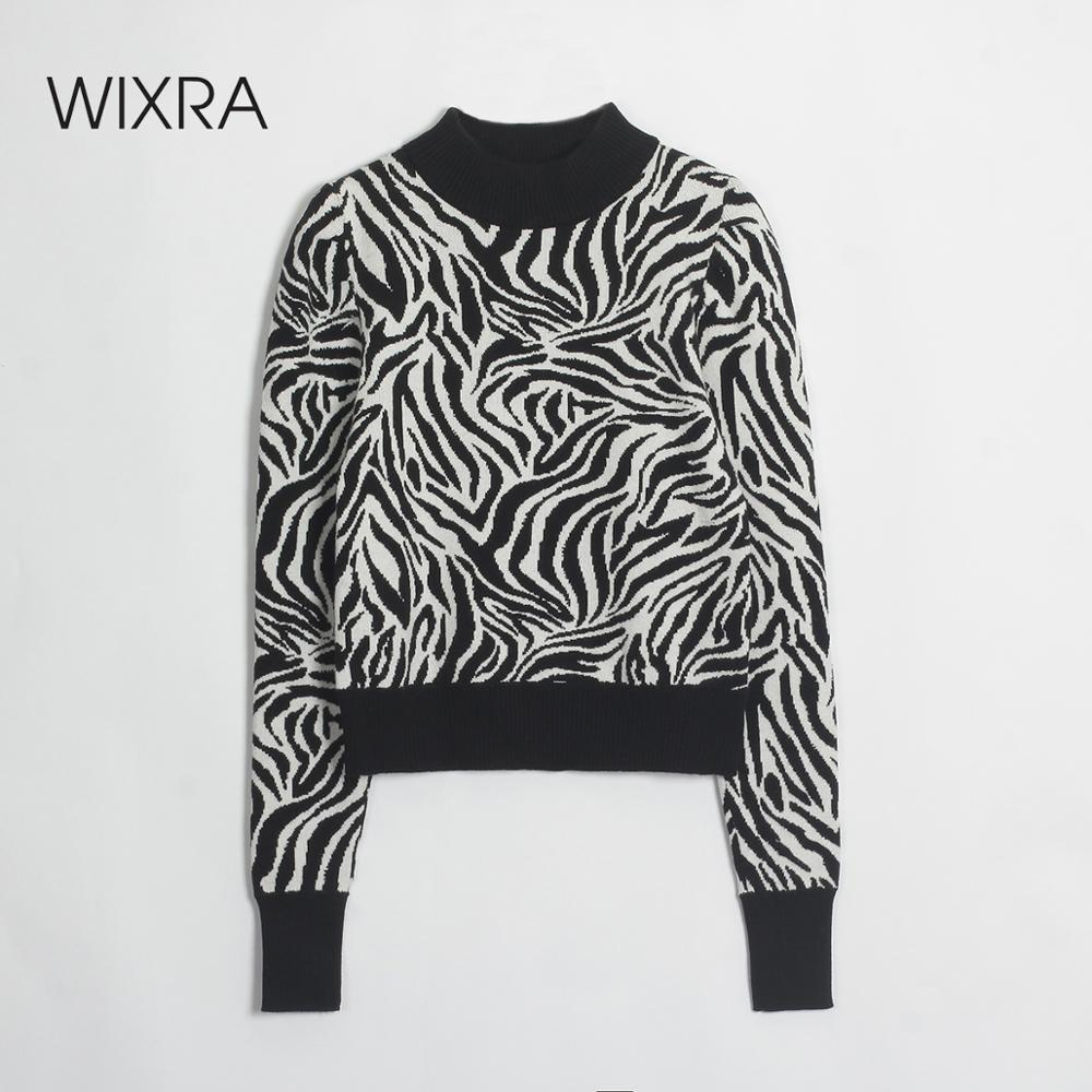 Wixra Pullovers Sweaters Zebra Print Long Sleeve Sweater For Women Knitted Slim Basic Casual Women's Clothing Autumn Winter