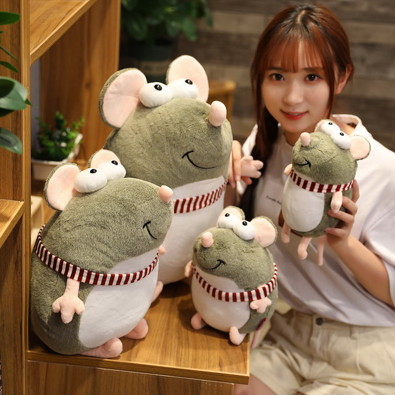 20-45cm Cute Fat Grey Rat Plush Toy Stuffed Soft Lovely Mouse Doll Animal Pillow For Baby Girls Children Kids Birthday Xmas Gift