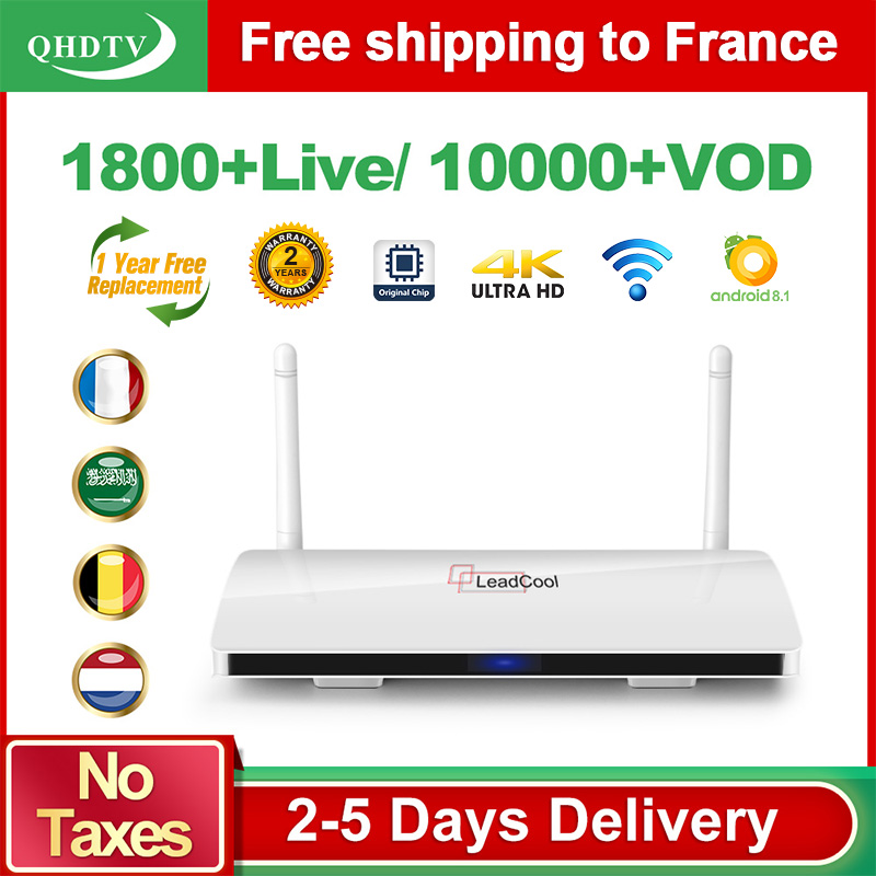 Leadcool IPTV France Subscription Android 8.1 RK3229 QHDTV IPTV French Arabic Algeria IP TV Spain Germany Belgium France Dutch