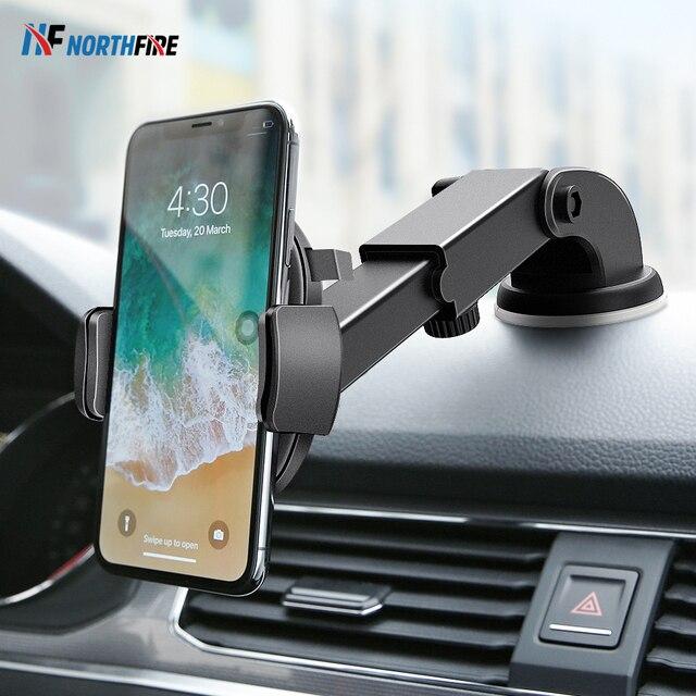 شاحن سيارة لاسلكي Qi بقوة 10 واط لهاتف آيفون Xr X مزود بمصاصة الجاذبية حامل هاتف السيارة للشحن السريع لهاتف سامسونج S10 S9 مثبت قابل للتعديل