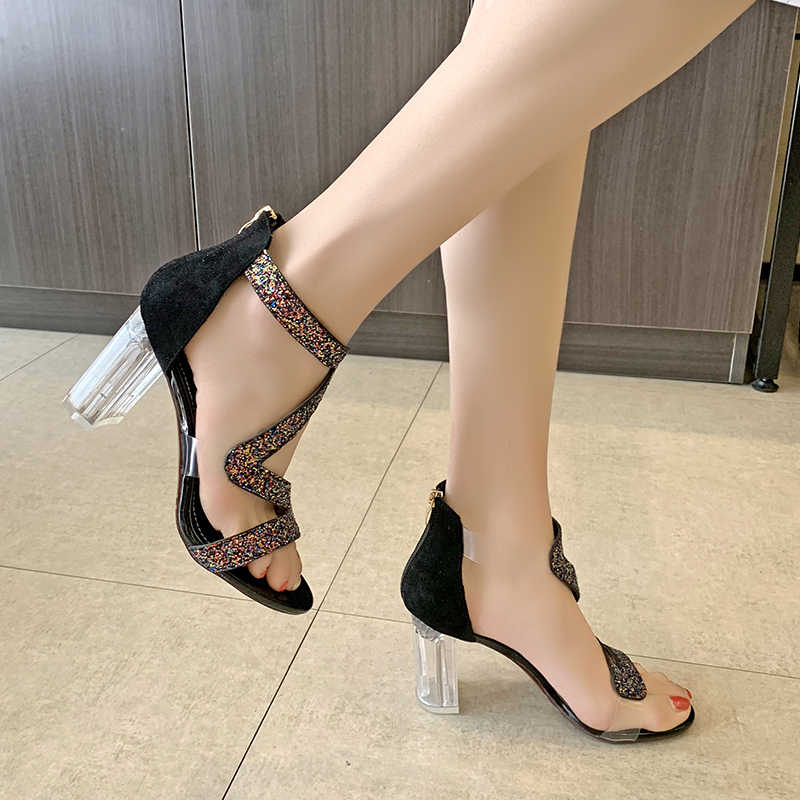 Women Sandals Ankle Strap High Heels Crystal Buckle Strap Summer Shoes Famale Fashion Rhinestone Clear Heel Party Pumps