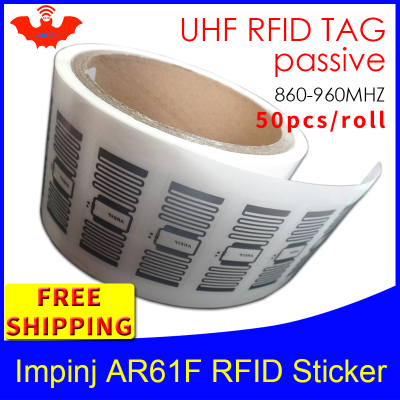 RFID Tag UHF Sticker Impinj MonzaR6 AR61F Wet Inlay 915mhz868 860-960MHZ EPC 6C 50pcs Free Shipping Adhesive Passive RFID Label