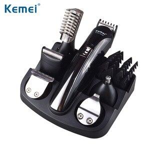 Image 1 - Kemei 6 w 1 elektryczna maszynka do strzyżenia włosów golenie maszyna trymer do brody maszynka do włosów ucho nos maszynka do włosów urządzenie do czyszczenia twarzy człowieka narzędzia fryzjerskie