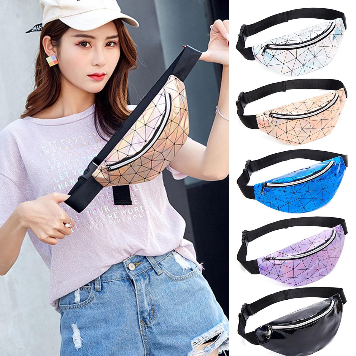 Holographic Waist Bags Women Purple Silver Fanny Pack Female Belt Bag Black Geometric Waist Packs Laser Chest Phone Pouch