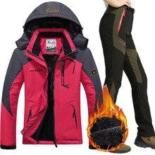 цена на Women Waterproof Ski Jacket Pants Suit Female Winter Outdoor Mountain Skiing Snow Snowboard Inner Fleece Warm Jackets Pants